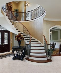 ceramic marble forna cork floor foyer luxury home circular staircase