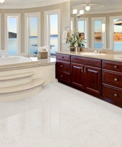 ceramic marble forna waterproof cork glue down tiles master bathroom interior boasts jetted tub with curved windows facing the lake cherrywood vanity cabinets