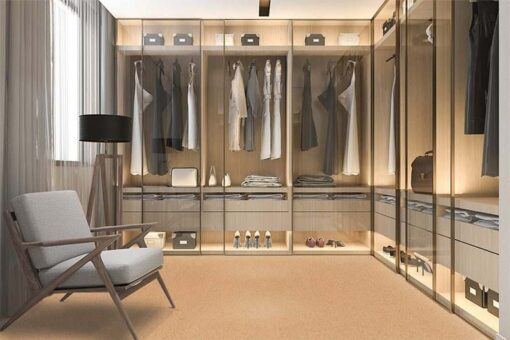 comfort cork floor forna scandinavian walk in closet with wardrobe