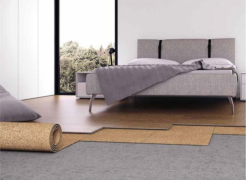 cork applications cork underlayment warmth quiet comfortable underfoot soften acoustics