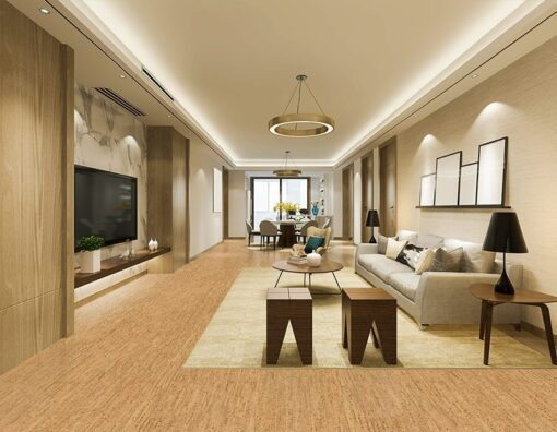 cork floor planks silver birch family room