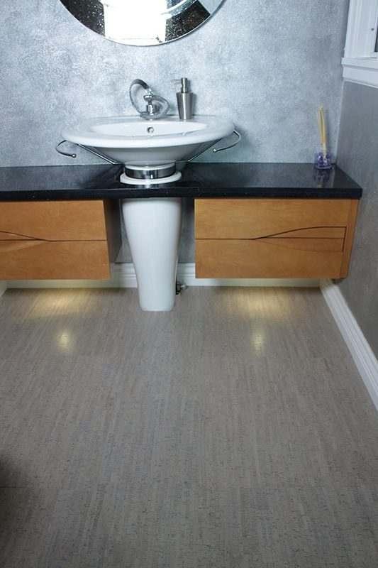 Cork Flooring Grey Bamboo Bathroom