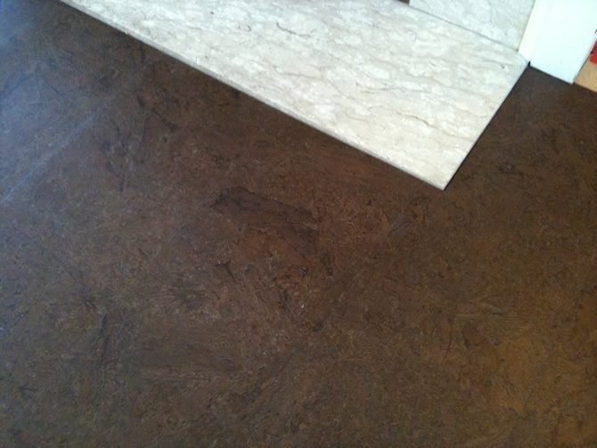 Cork Flooring In Front Fireplace