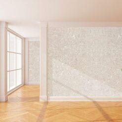 creme cork wall tiles empty new room with big window