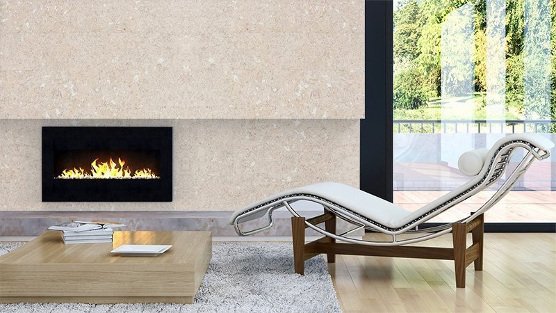 creme cork wall tiles in a modern living room