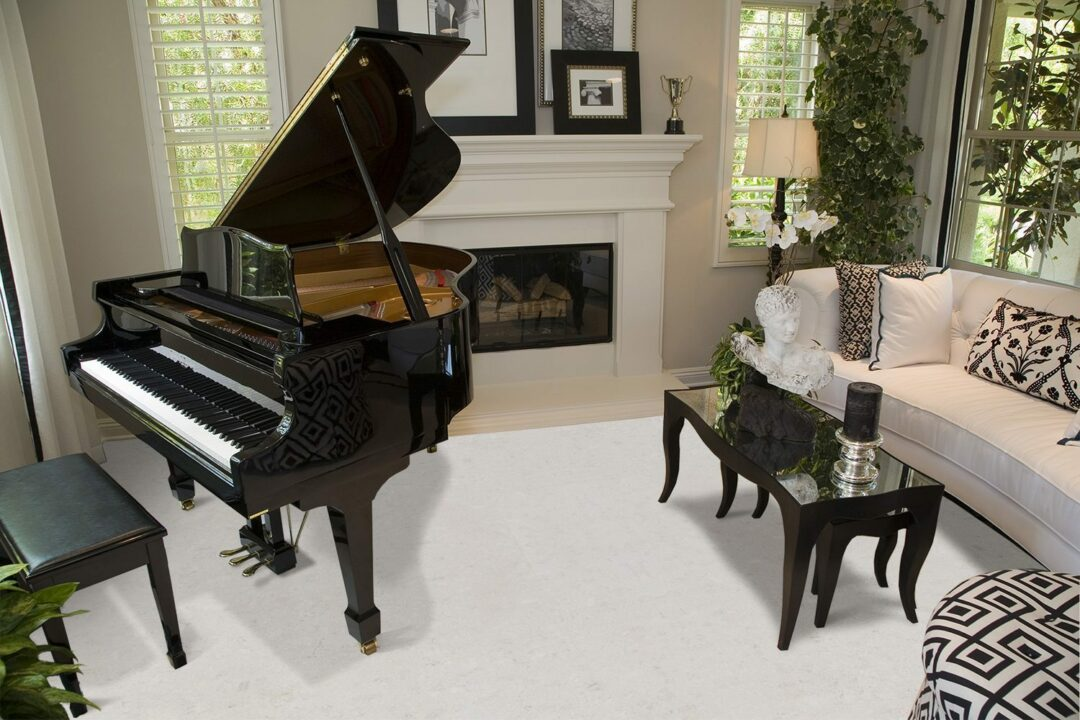 creme royal marble cork floor contemporary living room fireplace grand piano