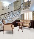 creme royal marble cork flooring forna wrought iron railing