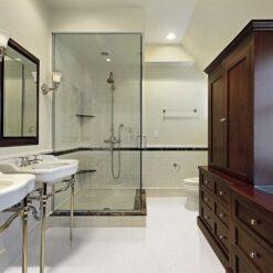 creme royal marble cork flooring master bath modern home glass shower