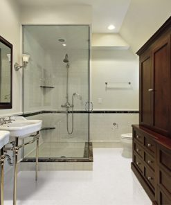 creme royal marble cork flooring master bath modern home glass shower