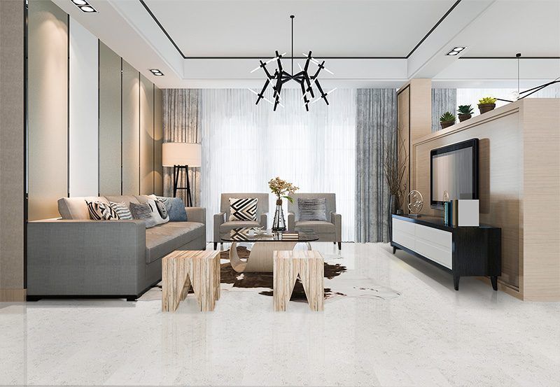creme royal marble forna cork flooring living room with leather sofa