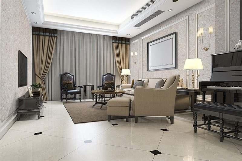 creme wall tiles 3mm classic warm living room interior design idea