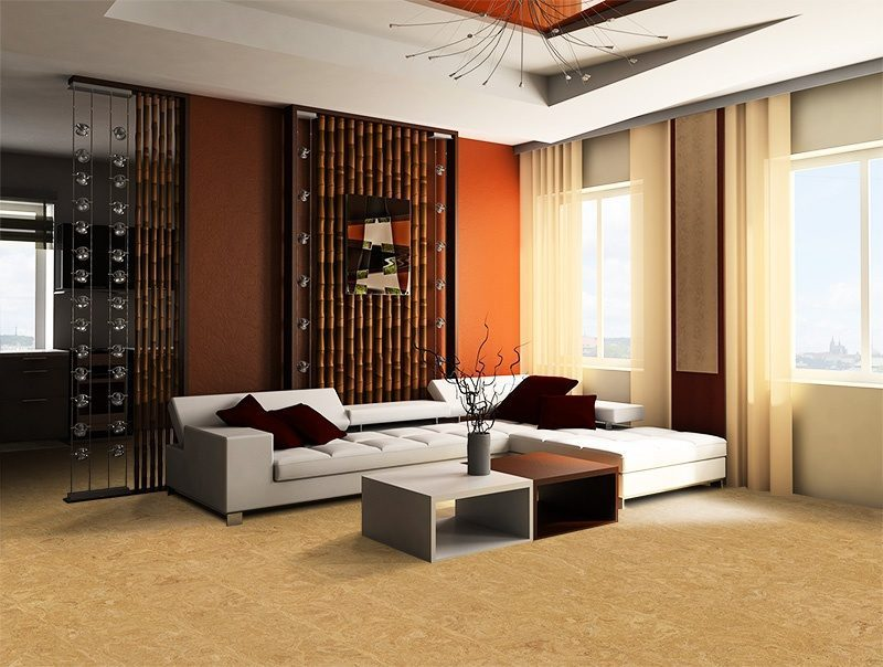 desert arable cork flooring white sofa and bamboo in a drawing room