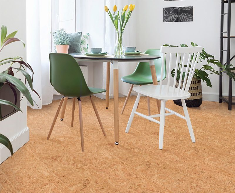 desert arable forna cork floor modern interior of living room with family table and lot of plants white walls