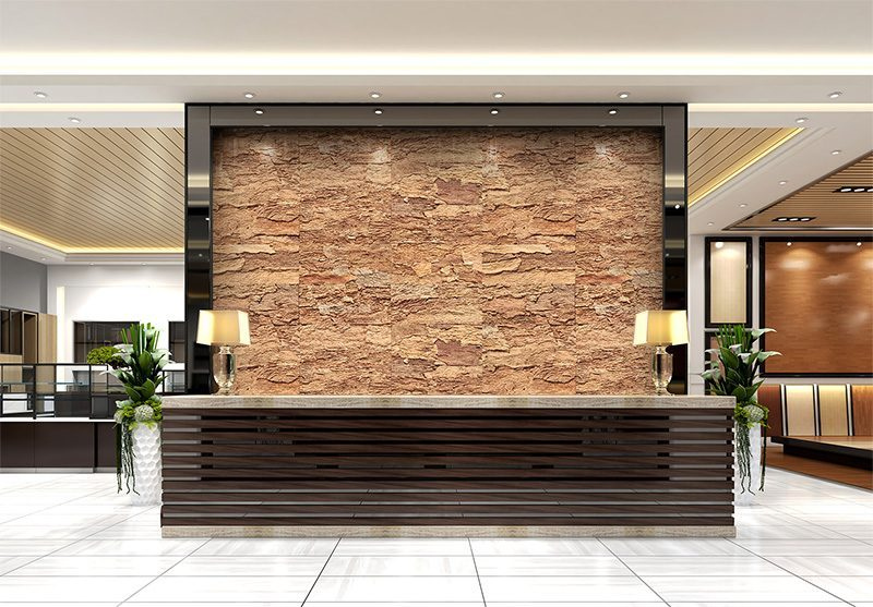 eco clay cork wall panels sustainable hotel lobby decor materials office reception area