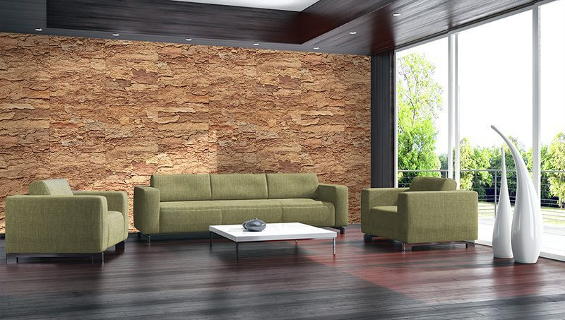 eco clay cork wall tiles modern bright livingroom interiors insulation