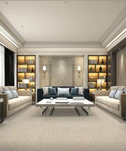gray bamboo cork flooring luxury and modern living room with bookshelf