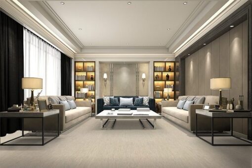 gray bamboo cork flooring luxury and modern living room with bookshelf