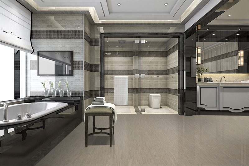 gray bamboo cork tiles -modern loft bathroom with-luxury