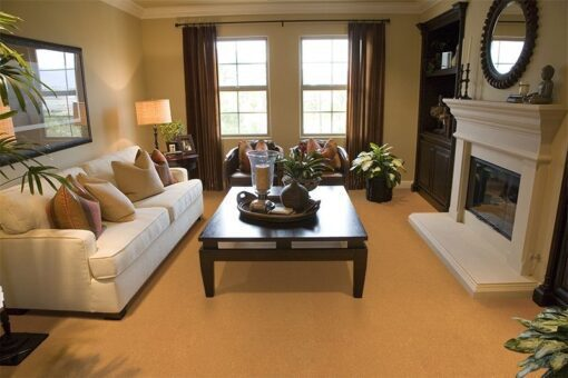 golden bach cork floor spacious living room fireplace stylish decor