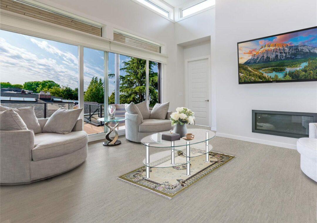 gray bamboo cork floor contemporary living room
