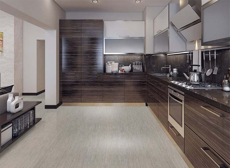 gray bamboo cork floor dining kitchen modern style