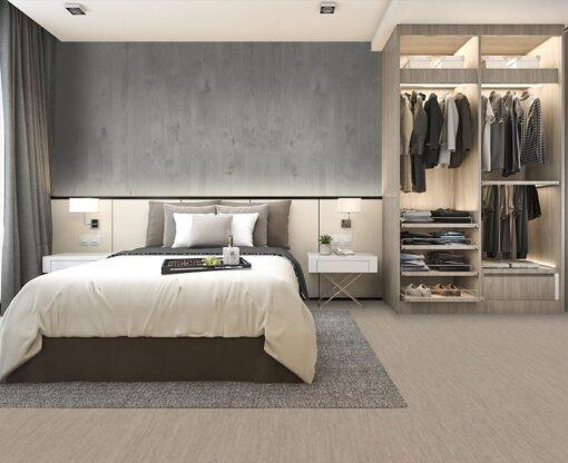 gray bamboo cork floor luxury modern bedroom suite in hotel with wardrobe and walk in closet