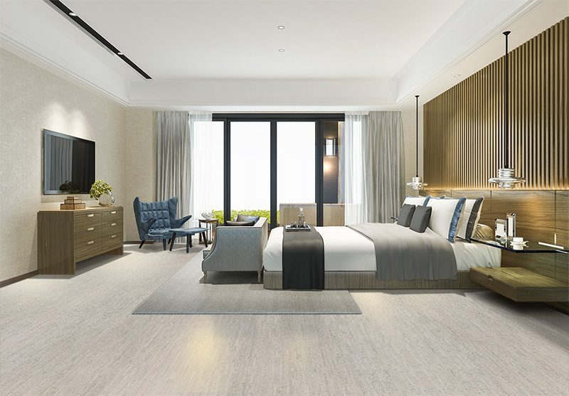 gray bamboo cork flooring sustainable bedroom hotel design