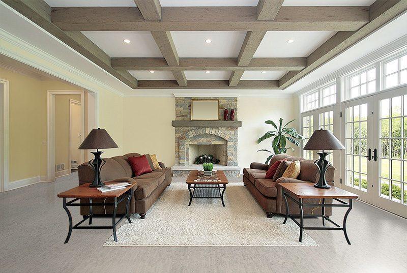 gray bamboo forna cork floor family room wood beam ceiling