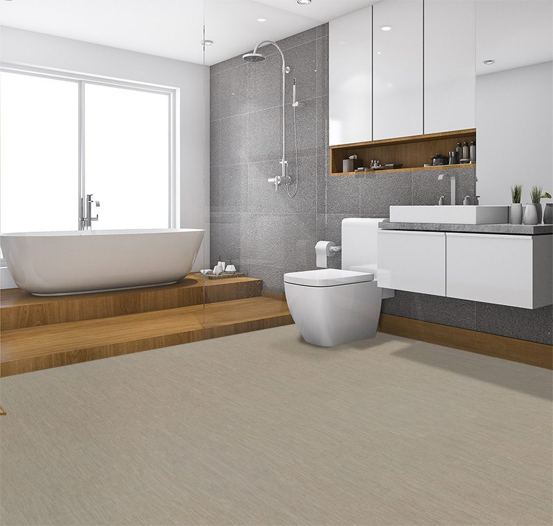 gray bamboo forna cork modern bathroom and toilet near window contemporary style
