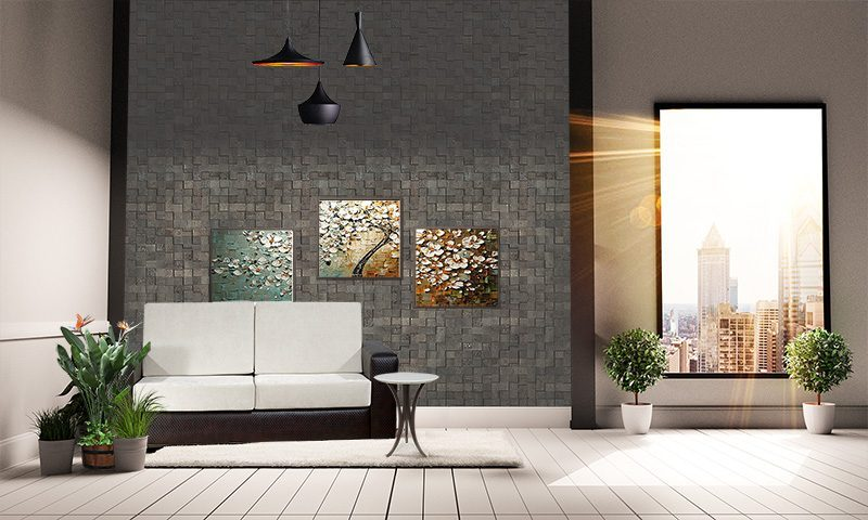 gray cubes harmony acoustic cork wall panels peel and stick in living roomgray cubes harmony acoustic cork wall panels peel and stick in living room