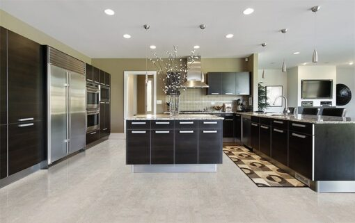gray leather cork flooring non toxic floor options modern kitchen design idea