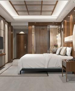 gray leather forna cork floor modern luxury bedroom suite in resort