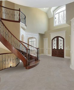 gray leather forna cork flooring foyer curved staircase