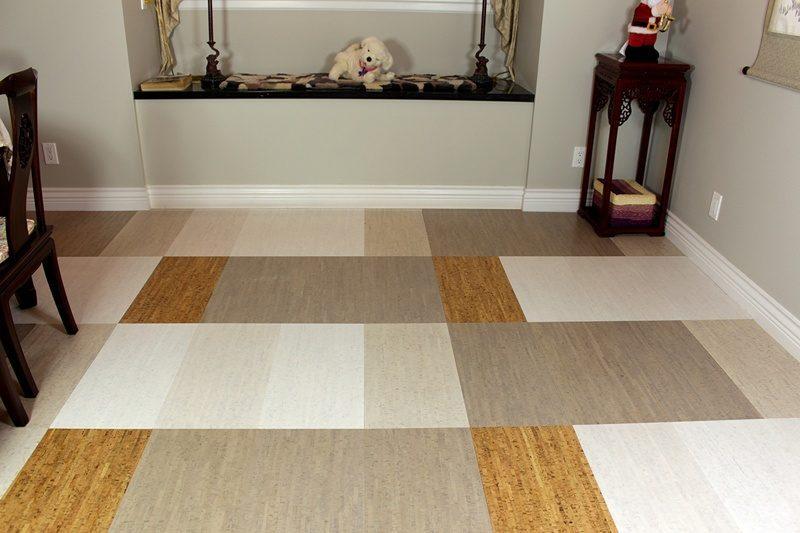 Gray White Bamboo Bleached Birch Silver Cork Tiles