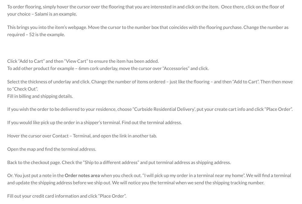 how to order cork flooring sample in cancork website