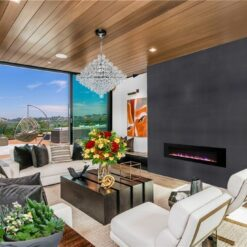 jet black cork wall tiles feature wall ideas living room with fireplace