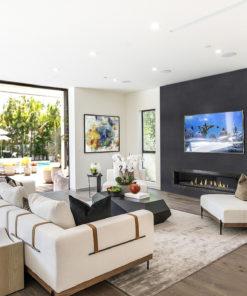 jet black cork wall tiles living room accent wall ideas