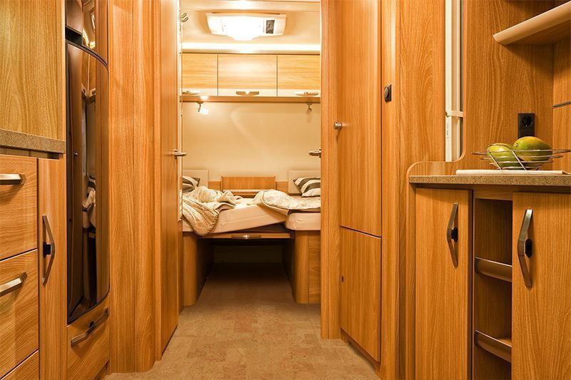 lather cork tiles bedroom of motorhome caravanning motoring tourism trade
