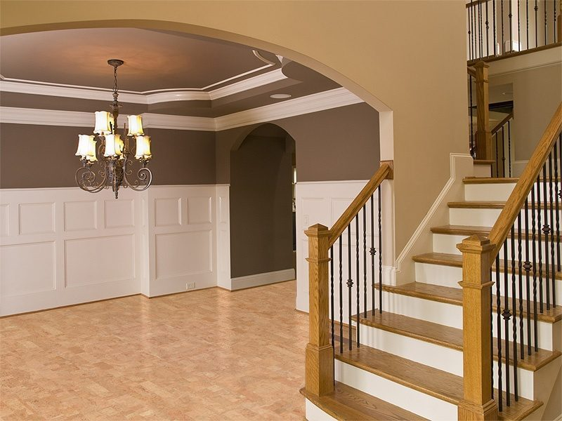 leather cork floors luxury home entrance way staircase