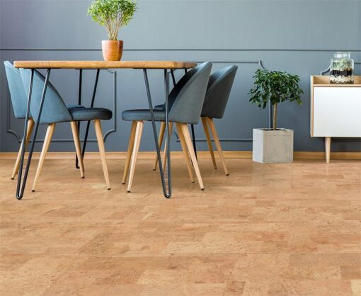 leather forna cork floor grey apartment interior dining room wood table