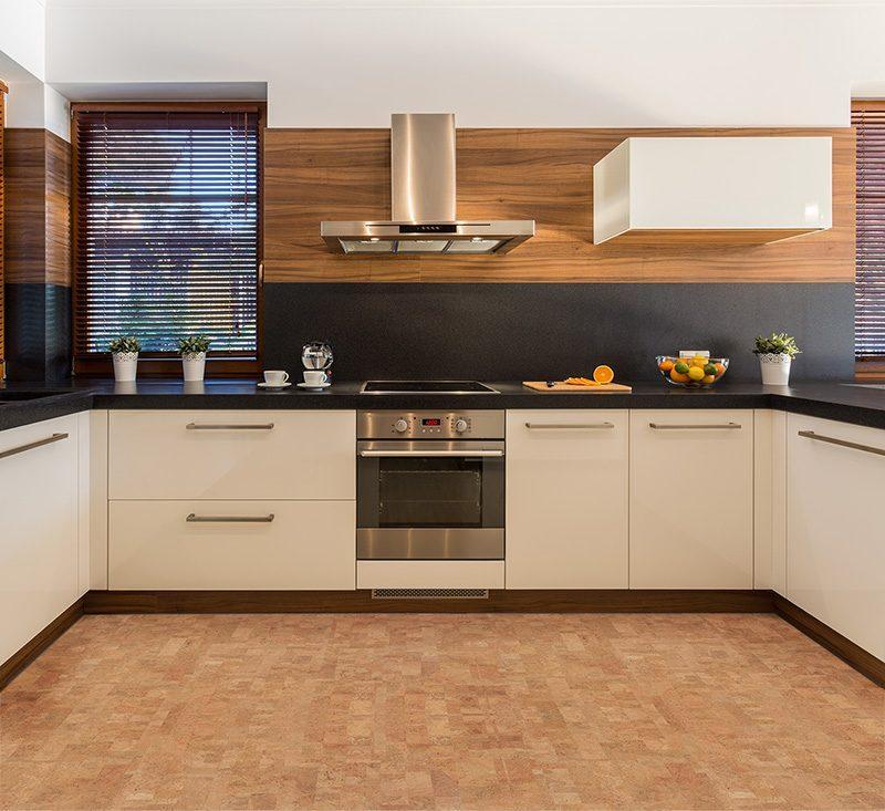 leather forna cork floor modern kitchen white cabinet
