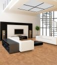 lether natural color cork floor modern living room white soba wall