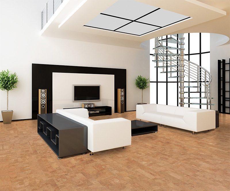 lether natural color cork floor modern living room white soba wall