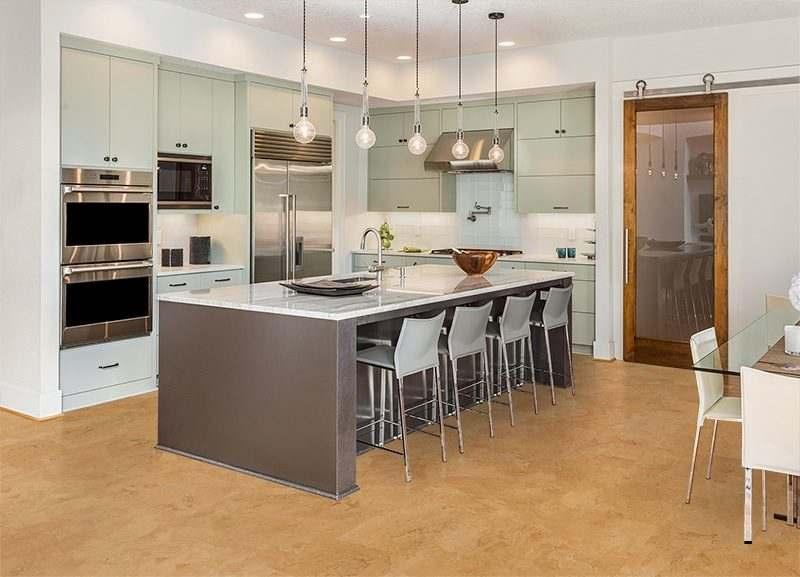 logan cork floors modern kitchen design island cabinets