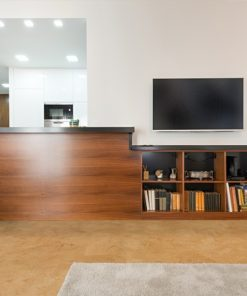 logan cork floors wooden counter modern new office interior