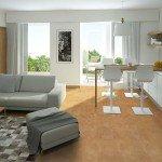 logan cork modern living room kitchen white cabinet