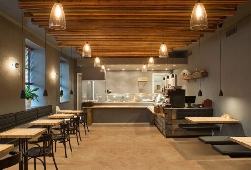logan forna cork floor interior modern restaurant wooden design