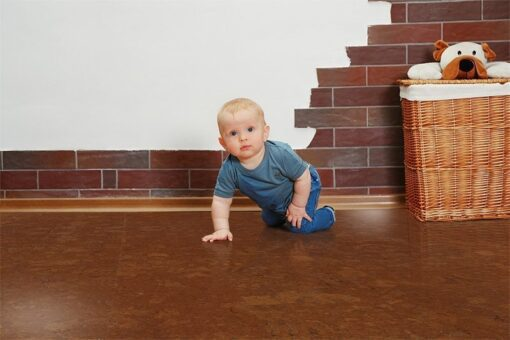 mahogany ripple cork flooring baby room child green eco material