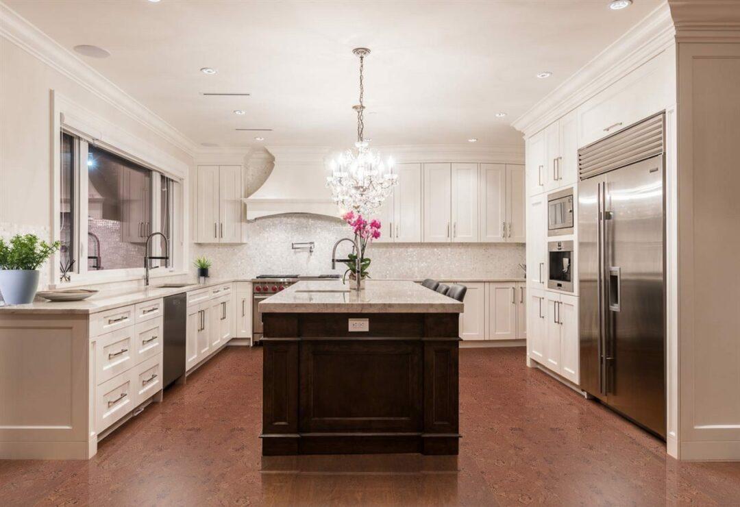 mahogany ripple cork flooring beautiful modern kitchen in designer house