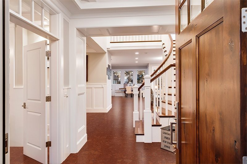 mahogany ripple forna cork flooring doorway entryway large luxurious home